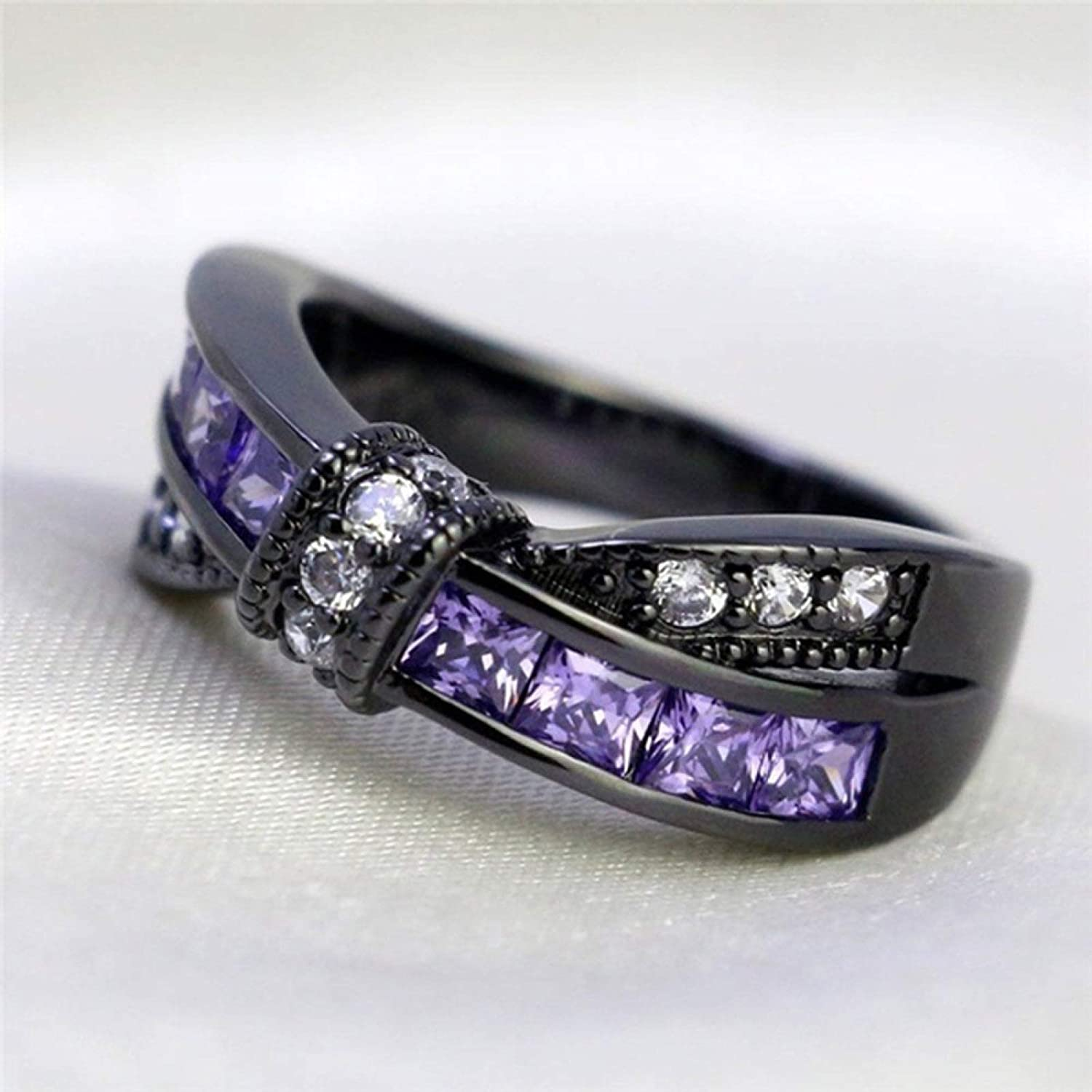 qiguch66 Wedding Rings for Women,Fashion Women Faux Amethyst Inlaid Cross Bowknot Engagement Ring Jewelry Gift - Black US 9