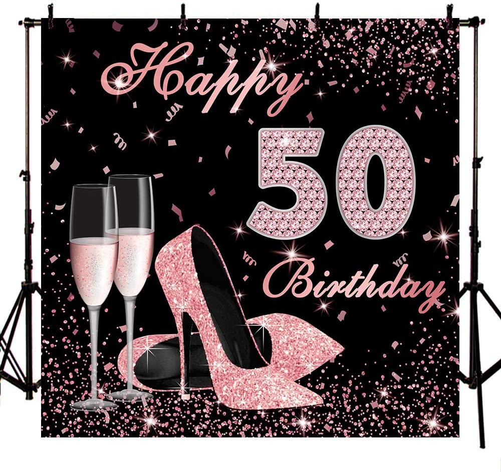 Mocsicka Happy 50th Super beauty product restock quality top Birthday Genuine Free Shipping Backdrop 8x8ft Heels Elegant L High