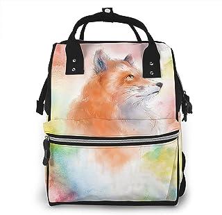 Risating Mummy Rugzak - Kleurrijke Cartoon Fox Baby veranderende zakken grote capaciteit duurzaam twill canvas voor mama papa