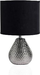 Pauleen 480.18 48018 Sip of Silver Max.20W luminaire à PoserE14 Lampe de Chevet Argent Noir 230V céramique/Tissu sans Am...
