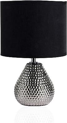 Pauleen 480.18 48018 Sip of Silver Max.20W luminaire à PoserE14 Lampe de Chevet Argent Noir 230V céramique/Tissu sans Ampoule