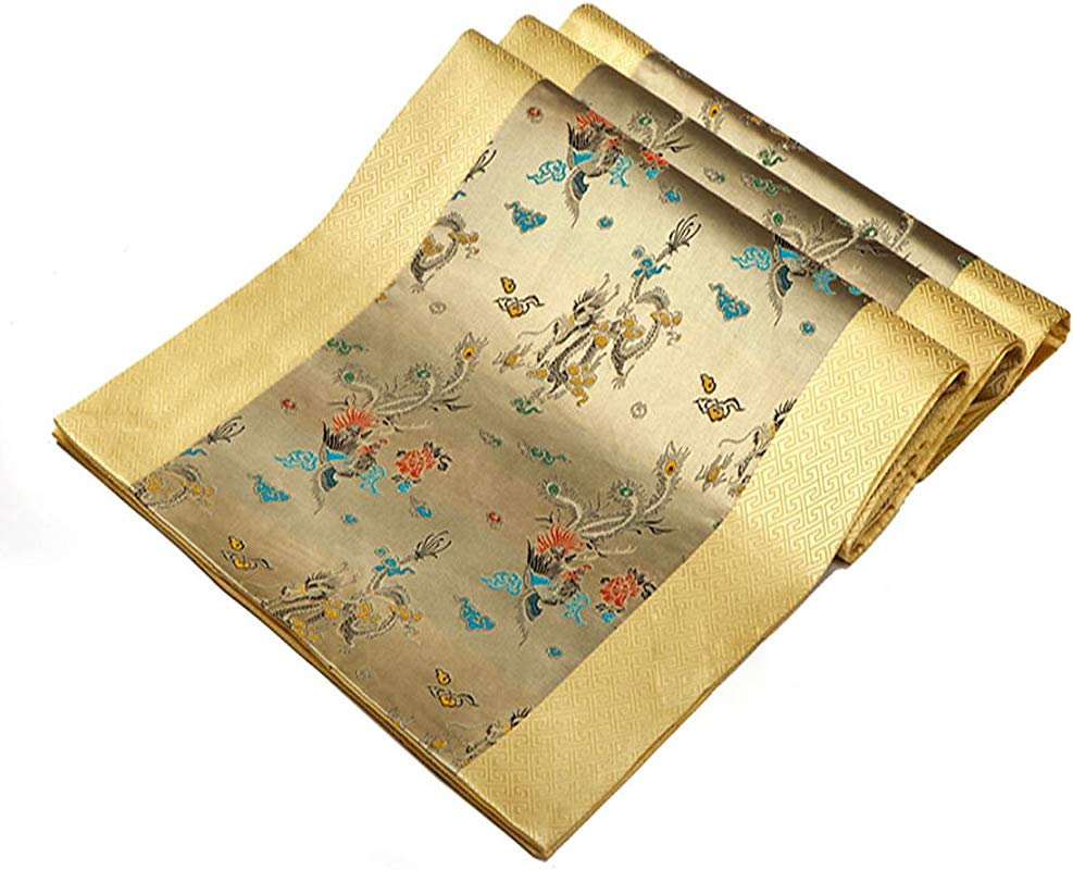 Riverbyland Silk And Satin Table Runner Gold And Blue Dragon Pattern91 X 13