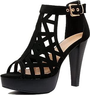 Womens Cutout Gladiator Ankle Strap Platform Block Heel Stiletto Sandals