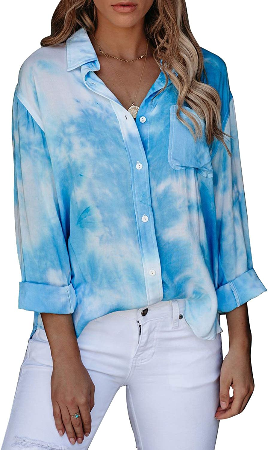 Astylish Women Casual Tie Dye Cuffed 3 4 Sleeve Button up V Neck Blouse Tops