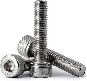 MINHER M8-1.25 x 90mm Socket Head Cap Screws, Allen Socket Drive, AISI 304 Stainless Steel (18-8), Full Thread, Bright Finish, Machine Thread, 8 PCS