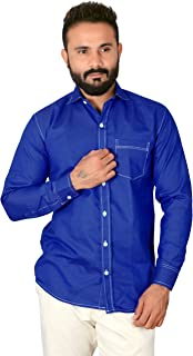 REBANTA Mens Casual Shirt Light Blue Plain Denim Cotton