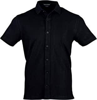Raceday Classics Luxury Quality Button Down Shirt with Perfect Collars, Short Sleeves, Regular Fit, Black Cotton Mesh