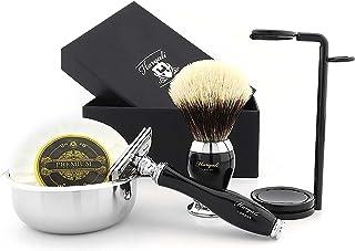 Podwójna krawędź bezpieczna maszynka do golenia zestaw do golenia srebrna końcówka szczotka do włosów borsuka, mydło do go...