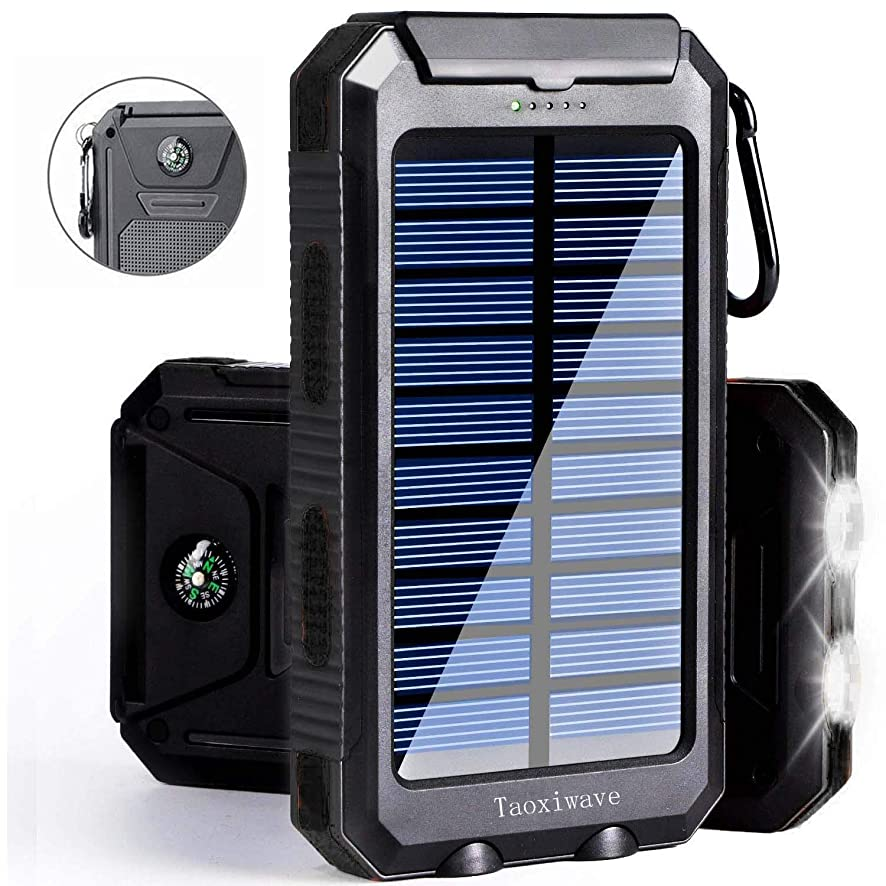 Solar Power Bank 20000mAh, Solar Charger Waterproof Portable External Backup Outdoor Cell Phone Battery Charger with Dual LED Flashlights,Solar Panel for iPhone,Android Cellphones (Black)