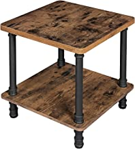 VASAGLE Industrial Side Table, End Table with 1.2 Inch Thick Table Top, Easy Assembly, Accent Table with Iron Pipe Legs, for Living Room, Office, Hallway, Rustic Brown