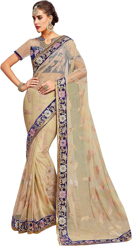 DesiButik's Alluring Cream Net Saree