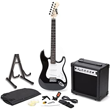 RockJam RJEG01-SK-BK Full Size Electric Guitar Superkit with Guitar Amplifier Guitar Strings Guitar Tuner Guitar Strap Guitar Case and Cable Black