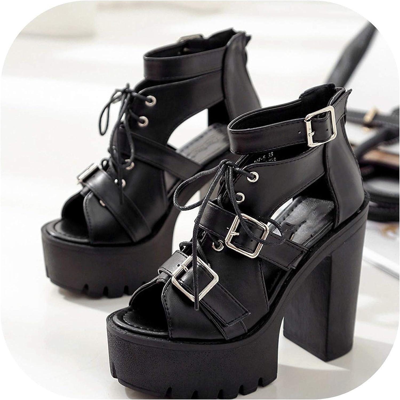 Pretty-Shop sandals Spring Platform Waterproof Platform Thick Hollow Rome high-Heeled Open,