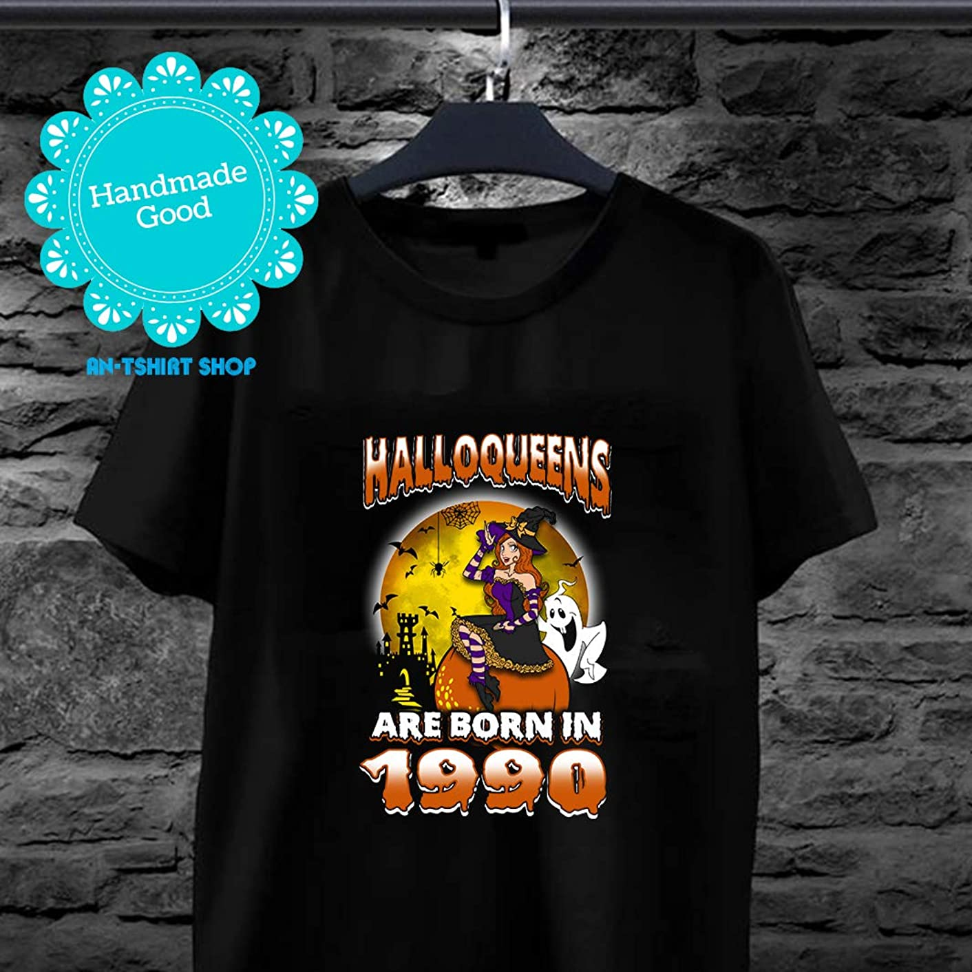Halloqueens Are Born In 1990 Halloween Woman T shirts for biker