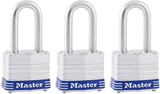 Master Lock 3TRILF Laminated Steel Padlock with Key, 3 Pack, 3 Count