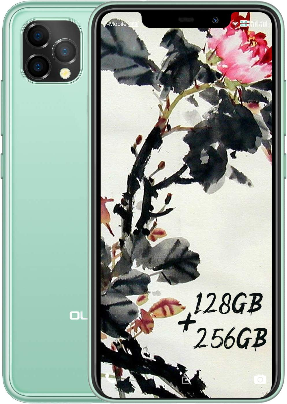 OUKITEL C22 Unlocked Smartphone, 4G Android 10 Triple Cameras Cell Phone, 4GB 128GB Dual SIM 4000mAh Battery 5.86 Inches 13MP Rear Camera Face Fingerprint ID Global LTE Mobile Phone (Green)