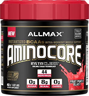 ALLMAX Nutrition Aminocore BCAAs, 100% Pure 45:30:25 Ratio, Fruit Punch, 462 g