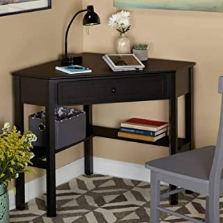 Wood Corner Computer Desk with Pullout Drawer and Shelf in Black