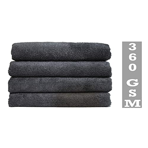 Hemito L-MFG Microfiber Multipurpose Cleaning Cloth Set (Grey, Pack of 4)