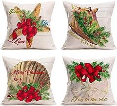 Hopyeer Ocean Park Merry Christmas Home Sofa Decoration Pillow Covers Decor Vintage Wood..