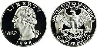1998 S US Mint Deep Cameo Washington Silver Proof Quarter DCAM