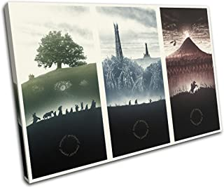 Bold Bloc Design - Lord of the Rings Movie Greats 60x40cm SINGLE Canvas Art Print Box Framed Picture Wall Hanging - Hand Made In The UK - Framed And Ready To Hang