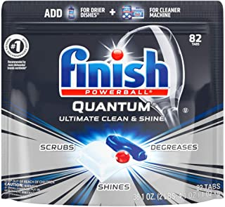Finish - Quantum - 82 Count - Dishwasher Detergent - Powerball - Ultimate Clean & Shine - Dishwashing Tablets - Dish Tabs, Pack of 1