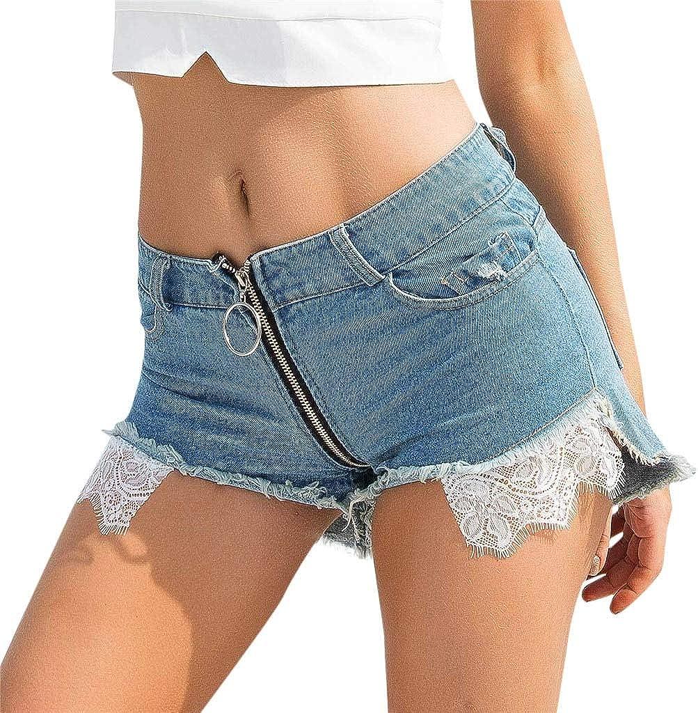 FUNEY Women's Casual Denim Shorts Frayed Raw Hem Ripped Jeans Shorts Lace Trim Zipper Pockets High Waist Shorts Jeans