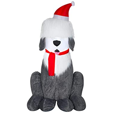 Home Accents Holiday 7 ft. Inflatable Fuzzy Plush Sheep Dog