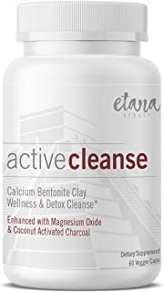 Active Cleanse by Etana Beauty – 60 vcaps – Professionally Formulated Detox Support & Wellness Cleanse – Enhanced with Calcium Bentonite Clay, Organic Coconut Activated Charcoal & Magnesium Oxide