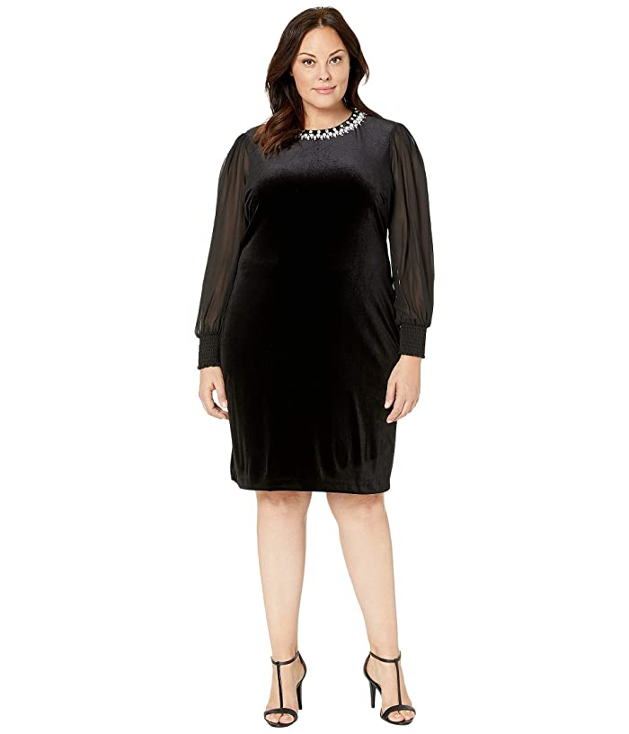 Tahari by ASL Plus Size Column Gown with Beaded Neck   6pm