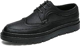Zapatos casuales Zapatos de Oxford de los hombres, zapatos clásicos de cordones tallados con cordones, zapatos de encaje c...
