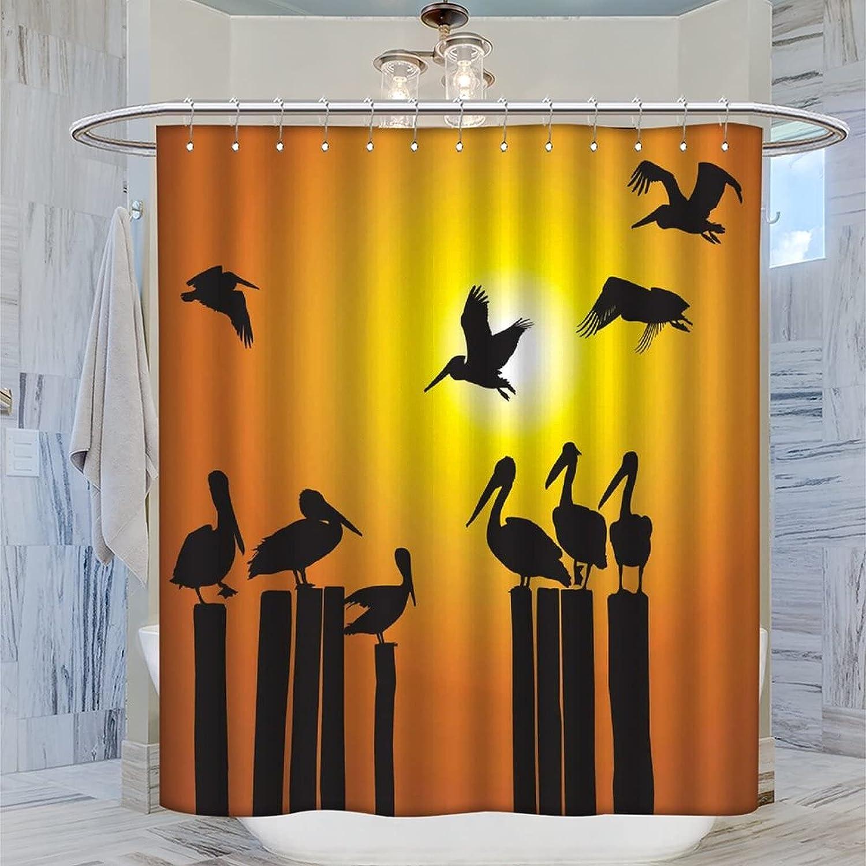 Animal Shower Curtain Birds Standing on Sunset Superlatite Product Pillar Creat at A
