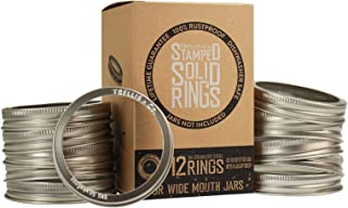 Trellis + Co. Stamped Stainless Steel Wide Mouth Mason Jar Replacement Rings/Bands/Tops | Durable & Rustproof | For Pickling, Canning, Storage (12 Pack)