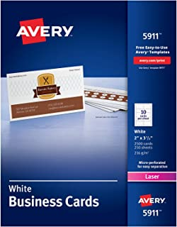 Avery Printable Business Cards, Laser Printers, 2,500 Cards, 2 x 3.5 (5911), White