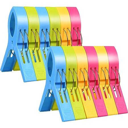 URAQT Pinces à Linge, 12pcs Pinces Serviette Plage, Clip de Brise-Vent, Durable Grosse Pince Plastique pour Serviettes Quilt Vêtement Couettes Draps Tapis Nappe