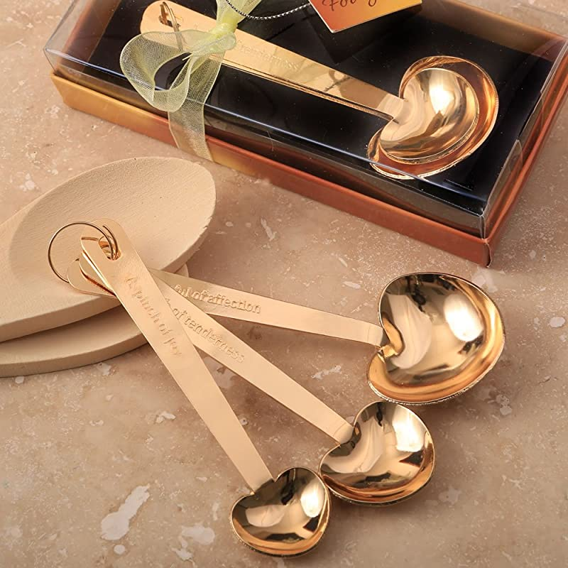Fashion Craft 6174 Love Beyond Set Of 3 Gold Stainless Steel Heart Shaped Measuring Spoons One Size Yellow