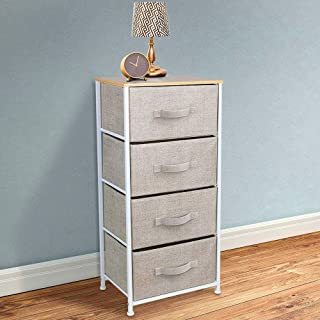 VUE Upgrade Dresser with 4 Drawers, Organizer Tall Fabric Storage Tower with Dust-Proof Pad for Bedroom,Hallway,Living Room,Closet,College Dorm - Sturdy Steel Frame,Wood Top,Easy Pull Fabric Bins