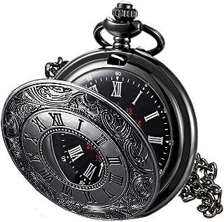 MJSCPHBJK سیاه کیف جیبی ساعت روم الگو Steampunk یکپارچهسازی با سیستمعامل کوارتز شماره های رومی ساعت جیبی
