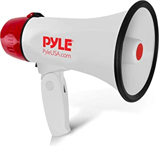 Pyle Megaphone Speaker PA Bullhorn - Built-in Siren - 20 Watt Adjustable Volume Control & 800 Yard Range - Ideal for Football, Soccer, Baseball, Cheerleading Fans, Coaches & Safety Drills - PMP20