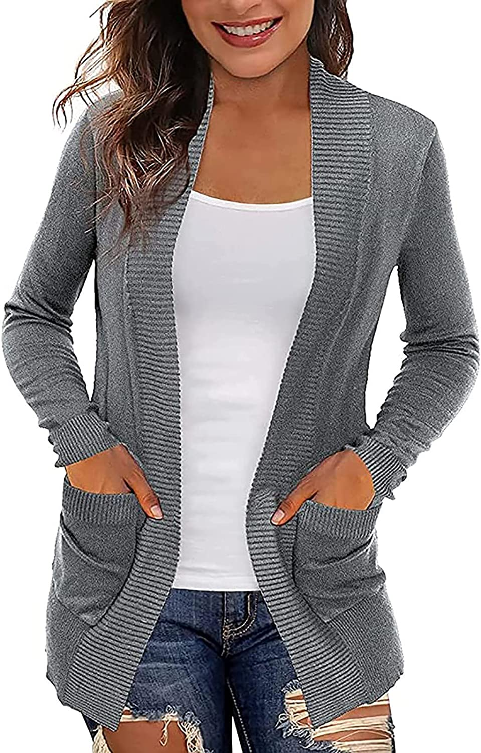 Kanzd Cardigan Sweaters for Women So Fashion Long Overseas parallel outlet import regular item Sleeve Knitted