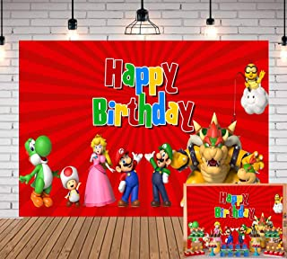 7X5FT Cartoon Super Mario Red Photo Backdrops Kids Baby Shower Mario Happy Birthday Party Decoration Photography Background Boy Girls Super Uncle Bros with Mushrooms Photo Studio Booth Props Banner