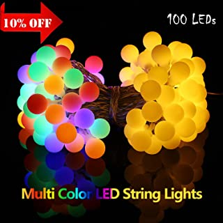 GIMISONIC 2 in 1 Warm White Color Changing LED Outdoor String Lights,Waterproof,33ft 100leds,Battery Operated with Remote 8 Modes Globe Fairy Lights for Holiday Decorations Outdoor Indoor Party