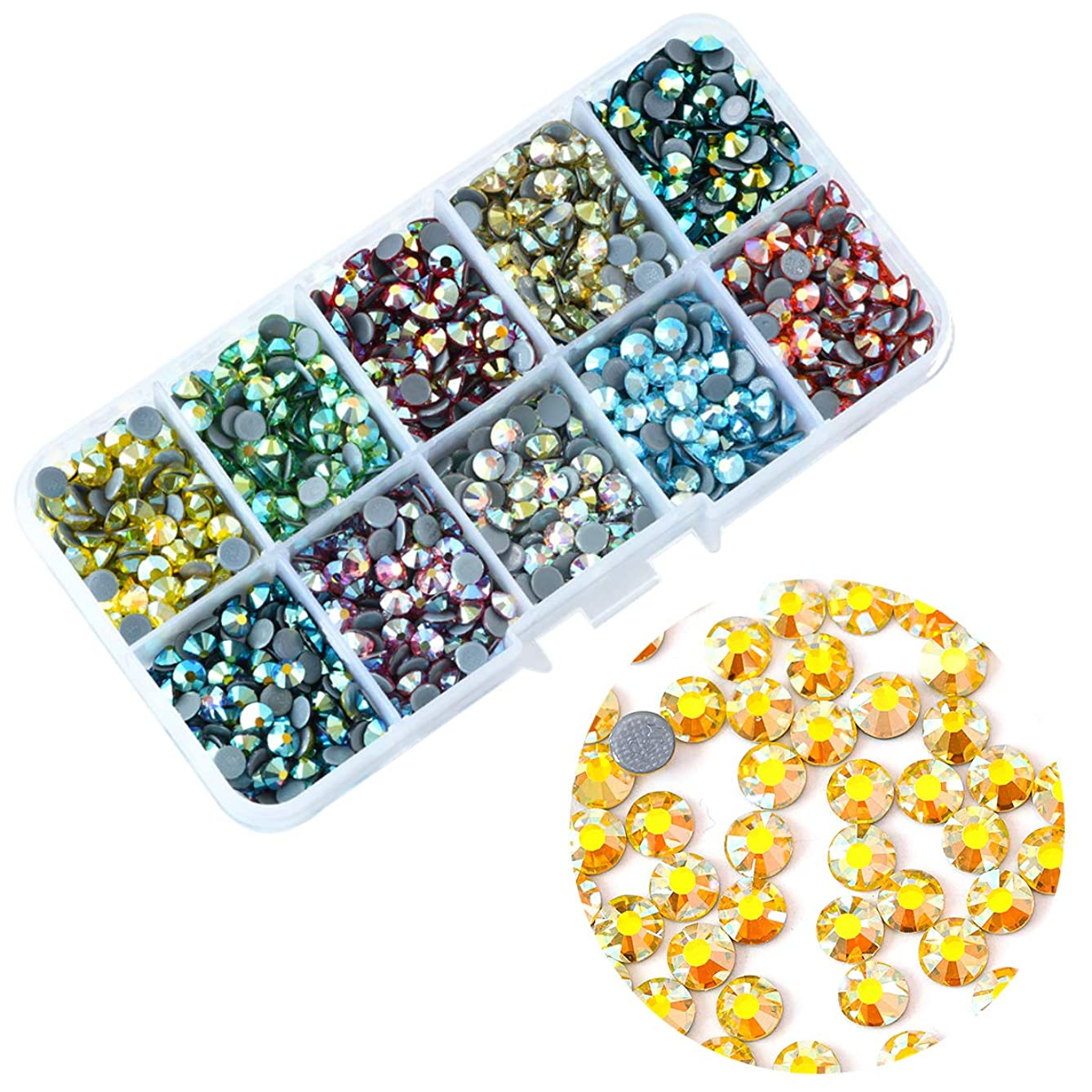 BLIINGINBOX 2000pcs Mix Colors AB with Box, 10 Colors ss10(2.7-2.99mm) Hotfix Rhinesstone Garment Crystal Glass Material