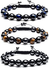Top Plaza Men Women Reiki Healing Energy Natural Tiger Eye Stone Magnetic Hematite Therapy Beads Macrame Adjustable Braided Link Bracelet