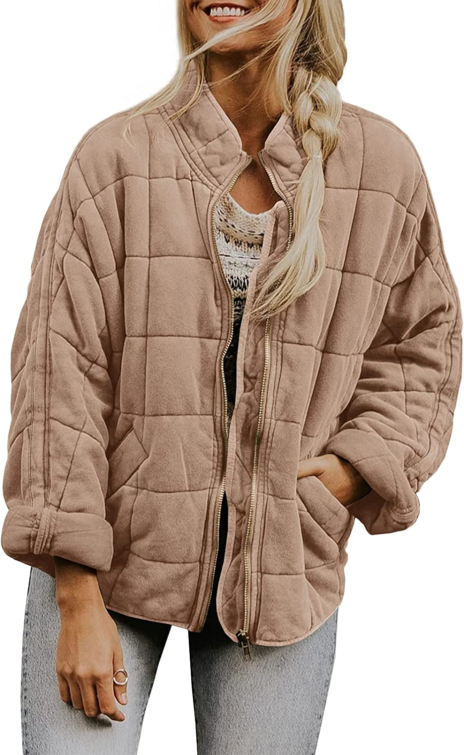 Womens Dolman Lightweight Quilted Jackets Zip Up Long Sleeve Stand Neck Warm Winter Outwears