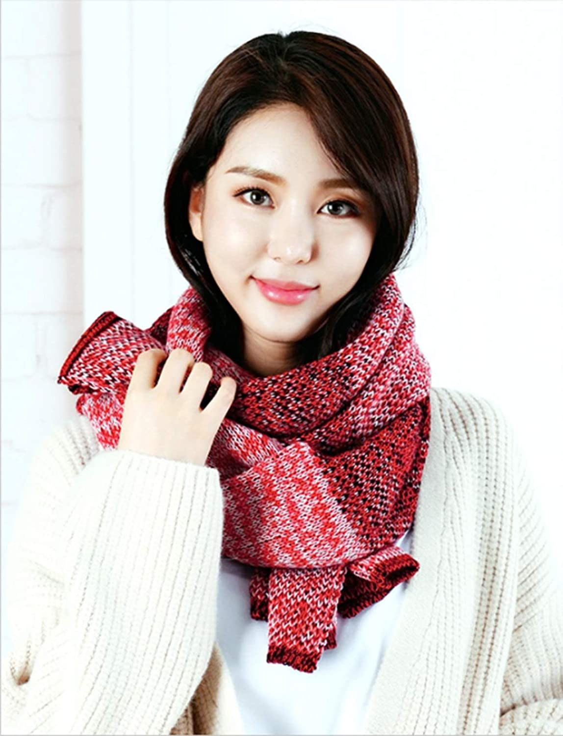 JUN Winter Long Scarf Female DoubleKnit Thickening Dualuse Cashmere Shawl (color   D)