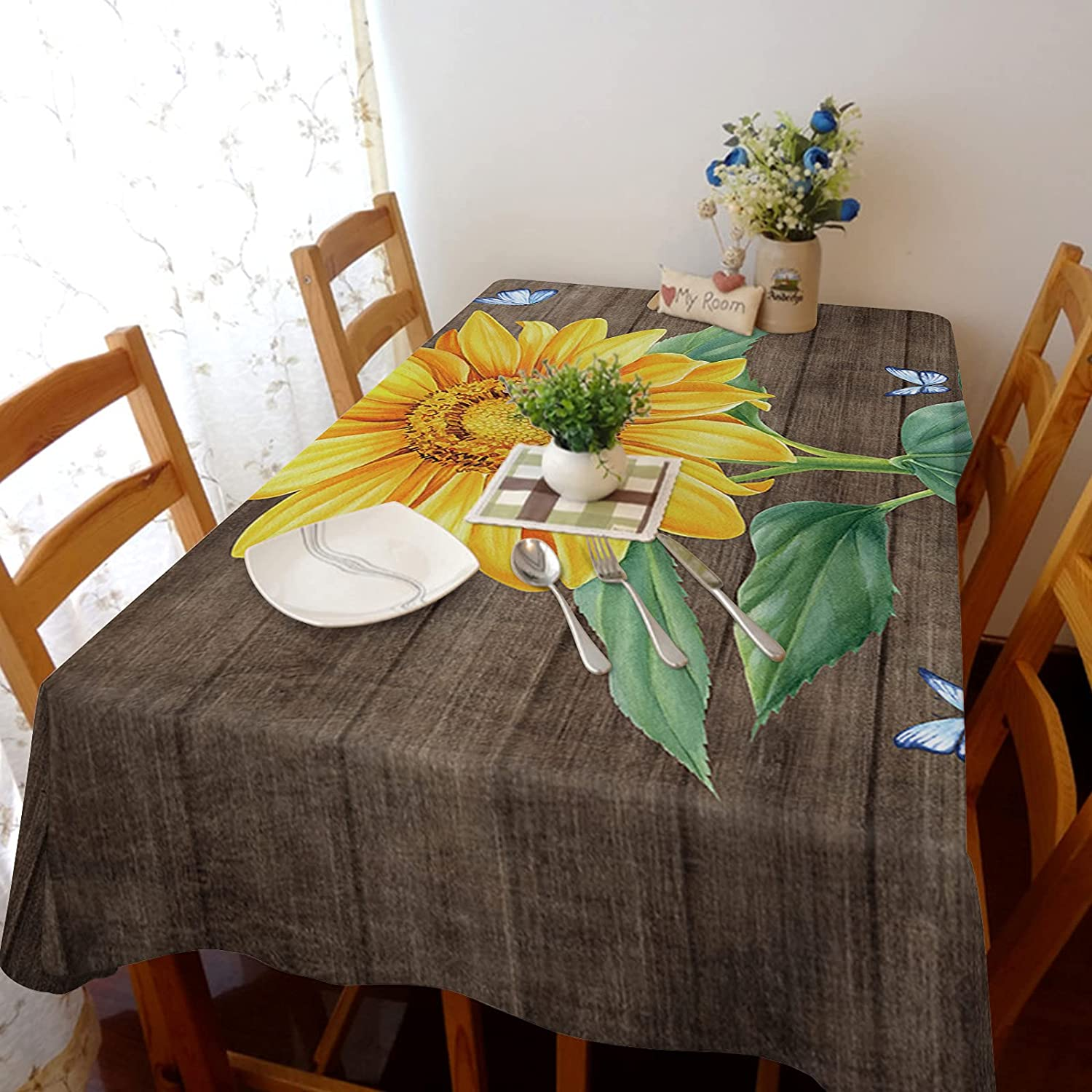 Queenker Square Tablecloth Dining Table Cover Sunflower But Farm Austin Mall 2021new shipping free