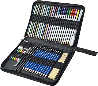 Lápices de Dibujo Lapices de Colores, KidsPark 52 Pieza Set de Dibujo Artista Kit con Lápiz Bosquejo Lapiz Colorear Lápiz Carbón Grafito Goma Cuchillo con Bolsa para Niños Adultos