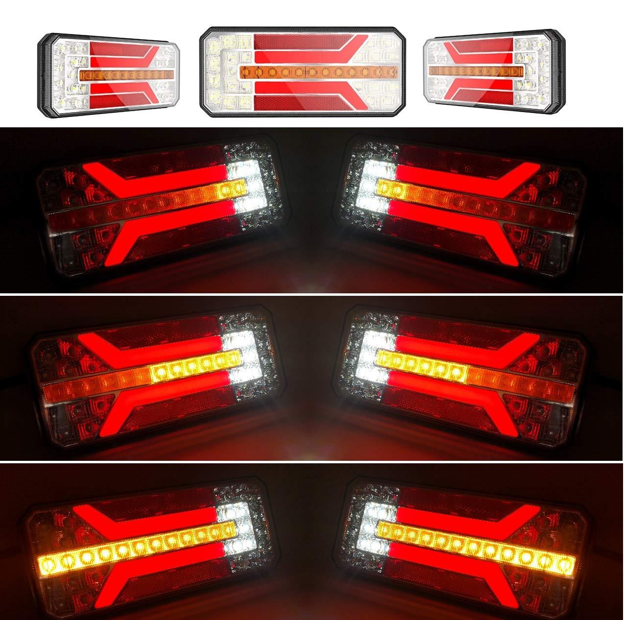 KIT 2 PILOTOS LED NEON 6 FUNCIONES CON LUZ INTERMITETNE DINAMICO 12V 24V CAMION REMOLQUE